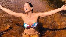 Aos 55 anos, Glória Pires esbanja boa forma em Goiás