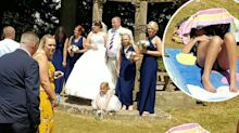 Sunbaker ruins couple's wedding photos by refusing to move