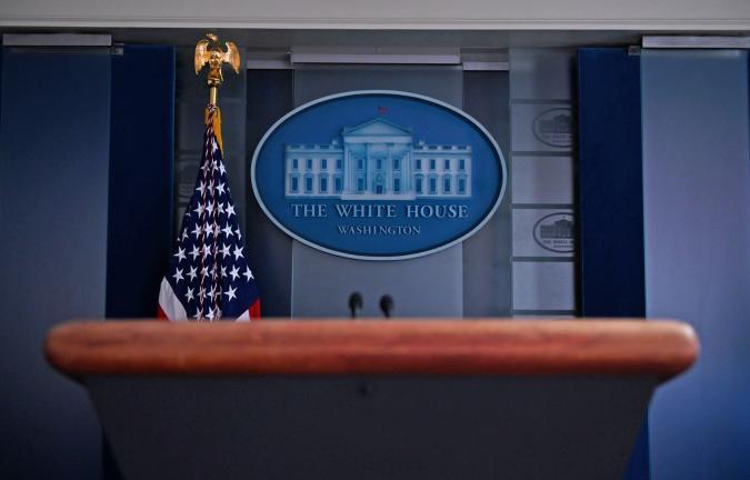 white house press room podium