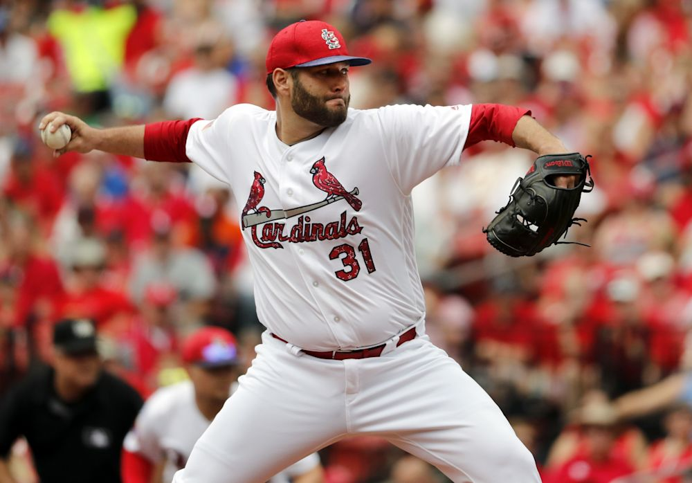 St. Louis Cardinals starting pitcher Lance Lynn throws during the first inning of a baseball game against the Miami Marlins, Tuesday, July 4, 2017, in St. Louis.