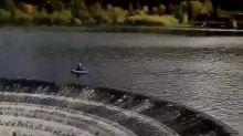 Anglers filmed perilously close to reservoir plug hole