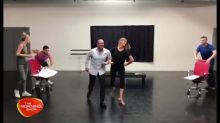 Larry and Kylie rehearse for 'Dance Boss'