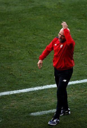 El entrenador del Sevilla, Jorge Sampaoli, en un encuentro frente al Atlético de Madrid por la Liga de Primera División del fútbol español en Madrid