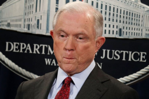 Sessions appears at a news conference at the Department of Justice last week. (Chip Somodevilla/Getty Images)
