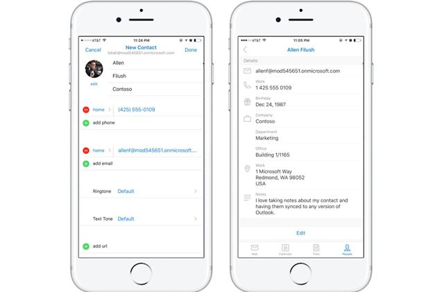 Microsoft's Outlook mobile apps help you edit your contacts