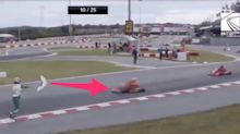 A karting star had a full-fledged meltdown at the World Championships, throwing a bumper at oncoming traffic and attacking an opponent