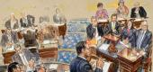 An artist's sketch of the scene at the Senate trial Wednesday. (AP)