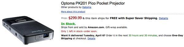 Optoma PK201 pico projector now shipping, PK301 up for pre-order