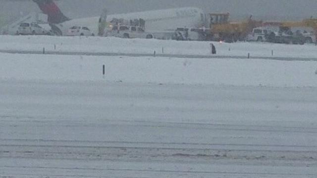 Emergency Services Respond to Plane Skidding Off Runway at LaGuardia
