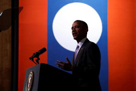 Obama delivers an address at the Lao National Cultural Hall, on the sidelines of the ASEAN Summit, in Vientiane, Laos