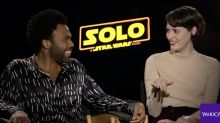 Donald Glover previewed 'This Is America' for a stunned 'Solo' cast outside the Millennium Falcon