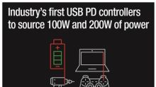 Industry's first 200-W and 100-W USB Type-C™ and USB Power Delivery controllers with fully integrated power paths simplify designs