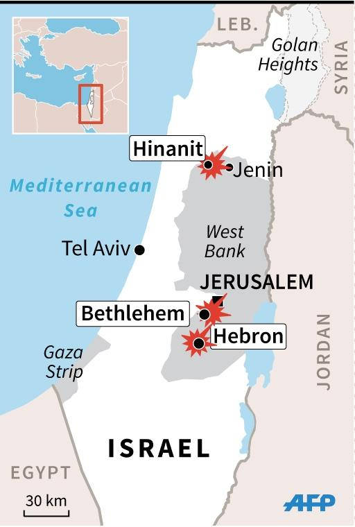 Updated map of the West Bank locating Sunday's violence. (AFP Photo/Jonathan Jacobsen)