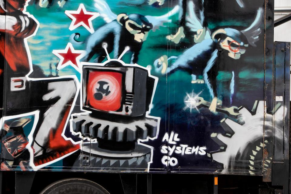Pictures: An old truck Bansky graffitied on is set to auction for $2.7 million