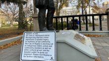Nameplate ripped off John A. Macdonald statue in Regina