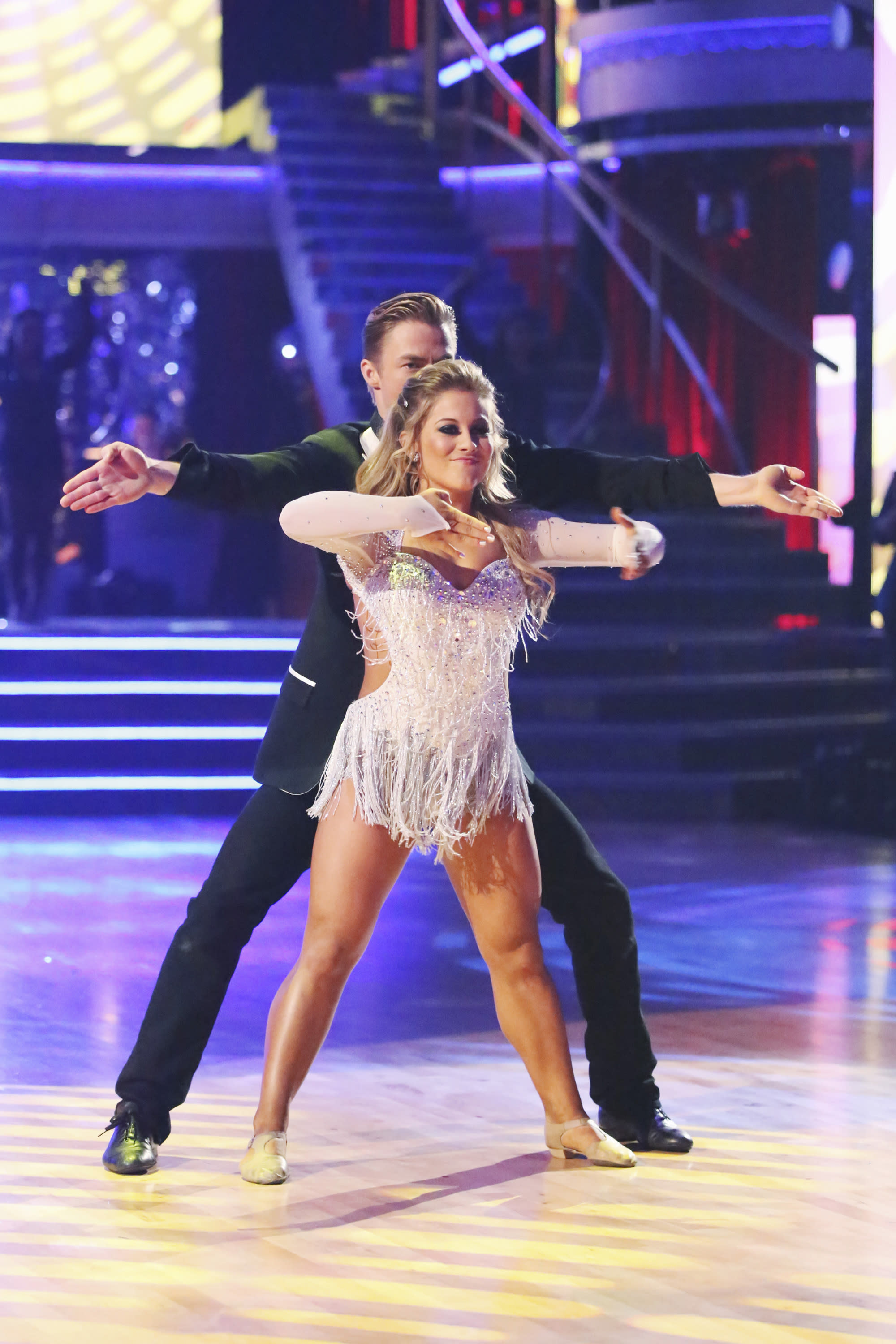 """This Monday, Nov. 26, 2012 publicity photo provided by ABC, shows Derek Hough and Shawn Johnson in """"Dancing with the Stars: All-Stars"""" - Episode 1510, as a competing couple in a Super-Sized Freestyle one-hour performance in which they were allowed to add extra performers, to incorporate all kinds of lifts and tricks to create an out-of-this-world entertaining routine on the ABC Television Network. Johnson is a finalist for the """"Dancing with the Stars"""" Mirror Ball Trophy on the ABC TV show Tuesday, Nov. 27, 2012. (AP Photo/ABC, Adam Taylor)"""