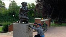Monuments honouring fallen Edmonton police officers defaced with graffiti
