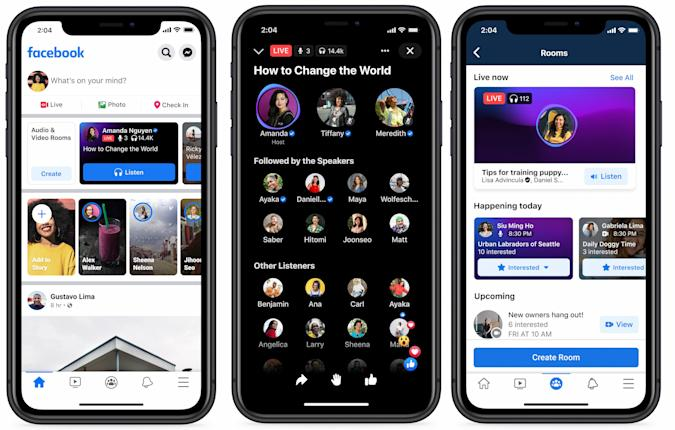 Screenshots showing Facebook's hub for audio content on an iPhone