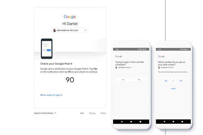 Google phone verification prompts for two-factor sign-ins