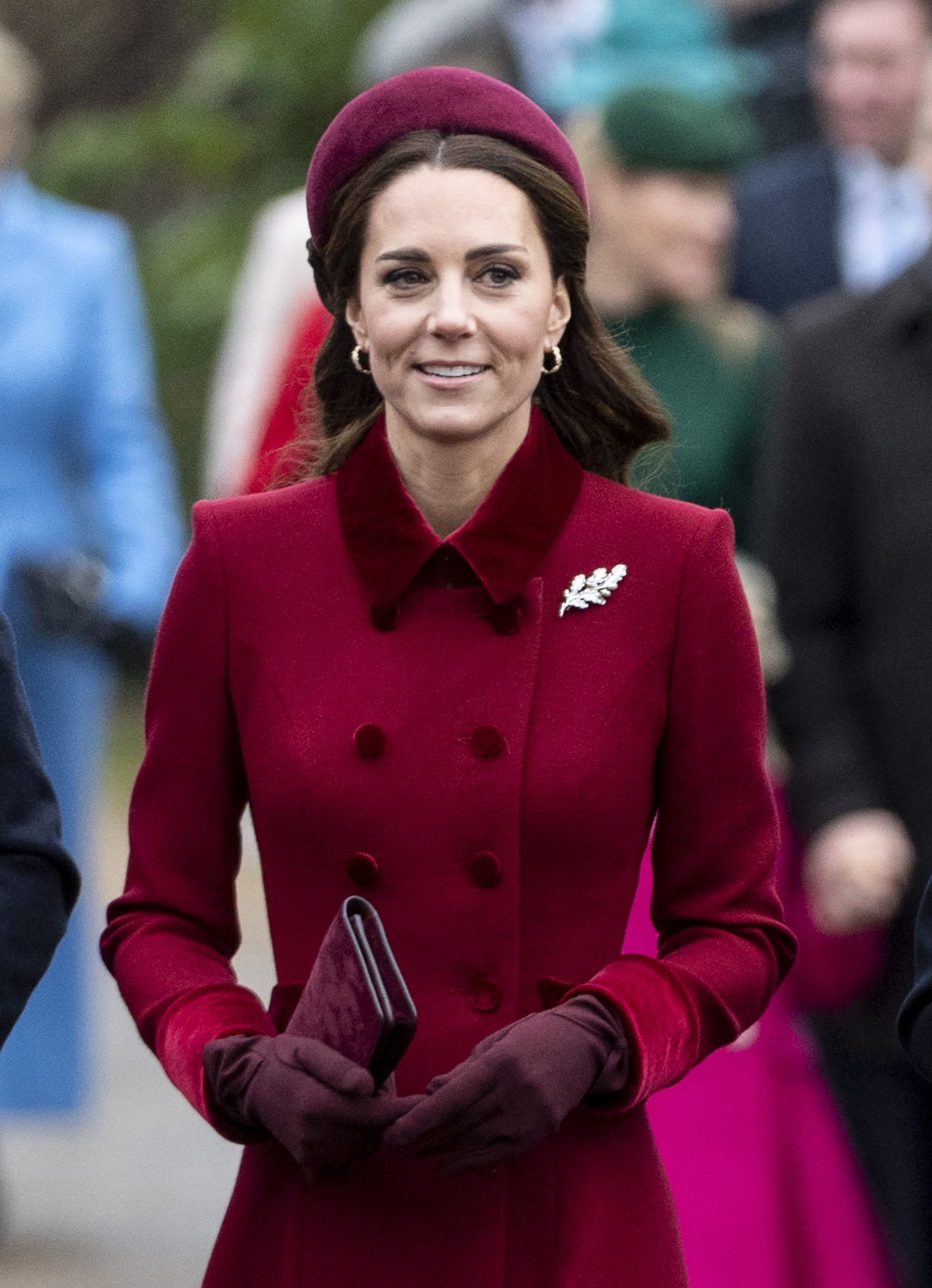 KING'S LYNN, ENGLAND - DECEMBER 25: Catherine, Duchess of Cambridge attend Christmas Day Church service at Church of St Mary Magdalene on the Sandringham estate on December 25, 2018 in King's Lynn, England. (Photo by Mark Cuthbert/UK Press via Getty Images)