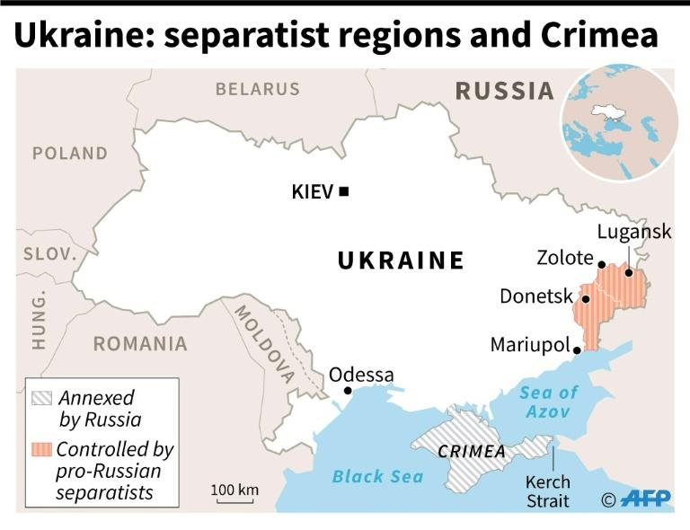 Map of Ukraine showing regions controlled by pro-Russian separatists and Crimea which was annexed by Russia (AFP Photo/Sébastien CASTERAN)