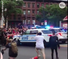 Video shows NYPD SUVs ram into crowd protesting George Floyd killing; mayor's comments criticized