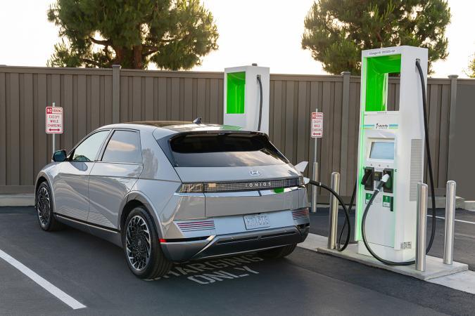 Hyundai Ioniq 5 at an Electrify America EV charger