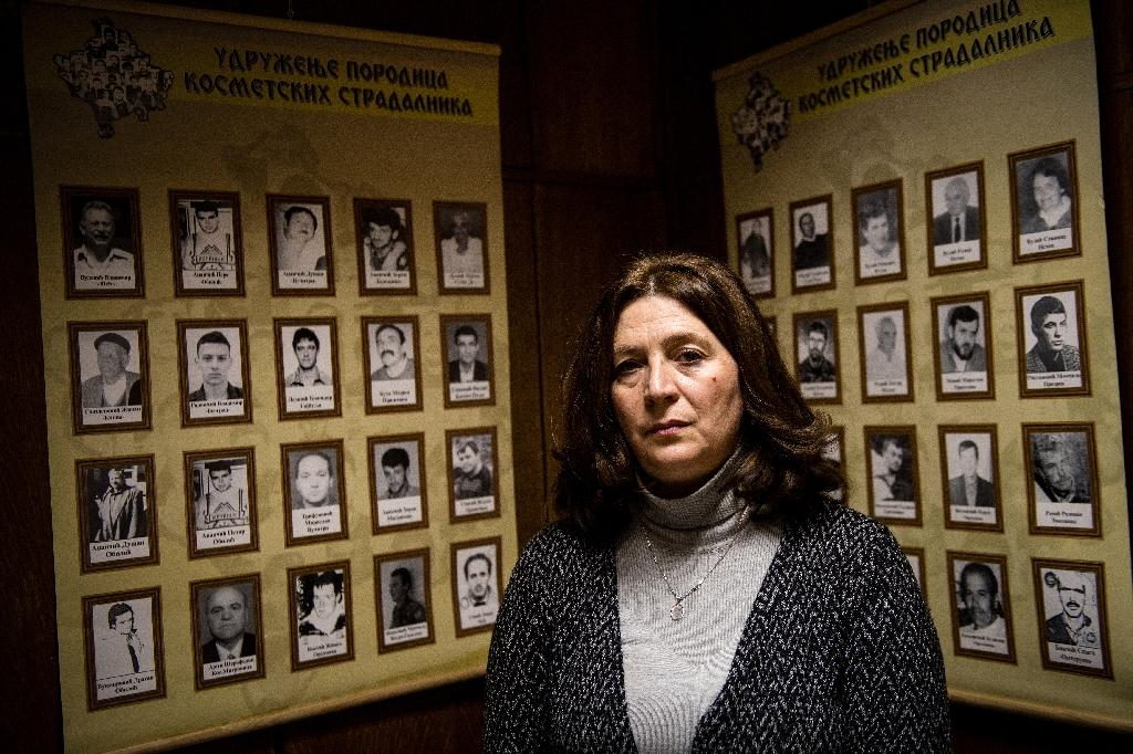 Natasa Scepanovic leads an association for the families of Serbian victims of the Kosovo Liberation Army in the 1990s (AFP Photo/ANDREJ ISAKOVIC)
