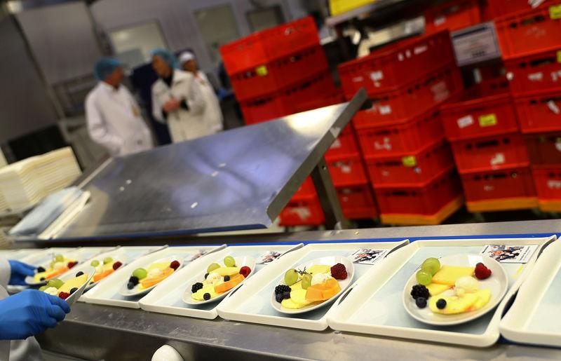 Meals are prepared by employees of LSG Group, Lufthansa's airline catering division, at the LSG headquarters in Frankfurt, Germany