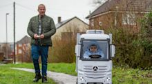 Uncle builds miniature remote-controlled lorry for nephew to ride around his local park