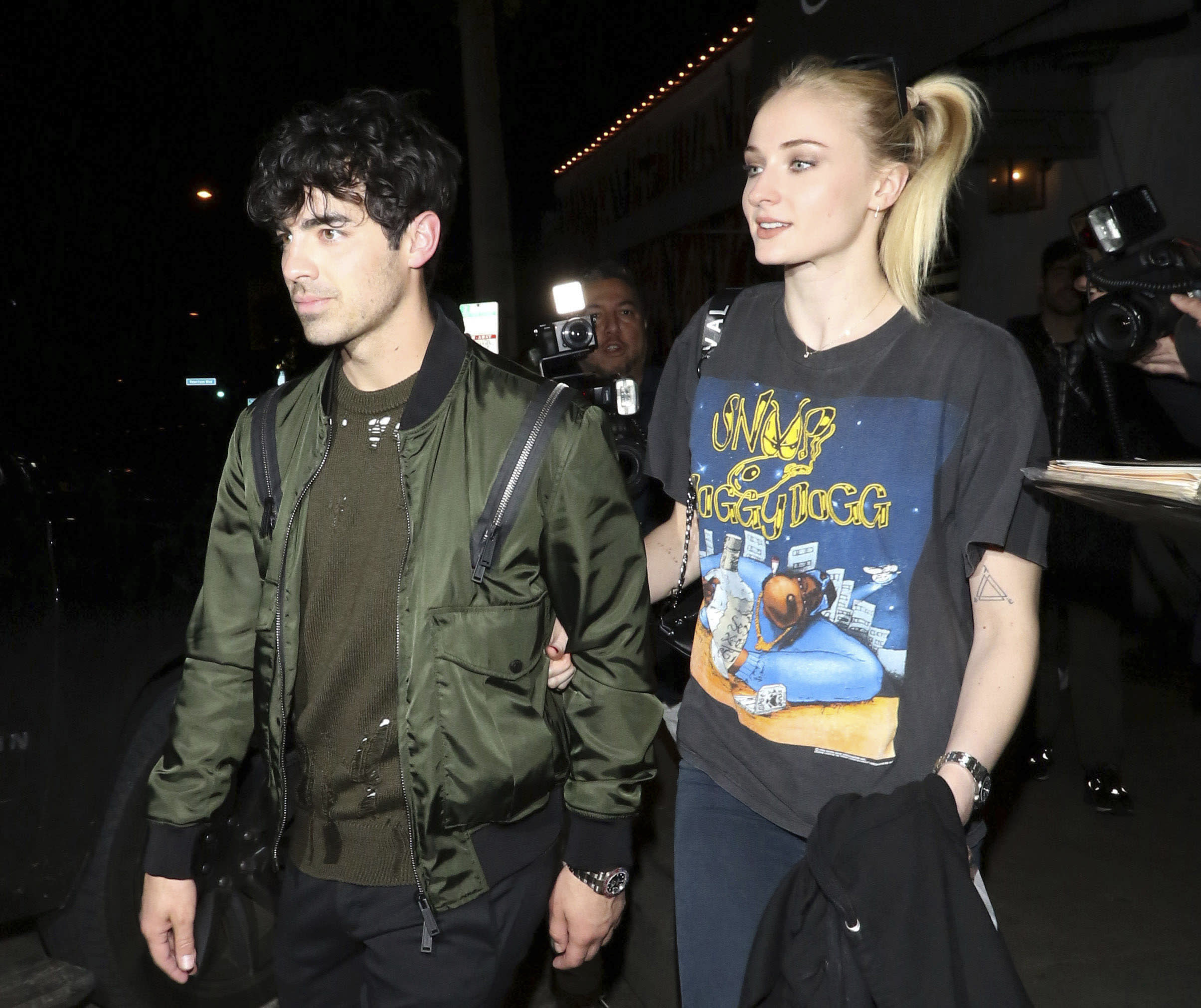 Photo by: zz/GOTPAP/STAR MAX/IPx 2019 3/4/19 Joe Jonas and Sophie Turner are seen outside Craig's Restaurant in West Hollywood, Los Angeles, CA.