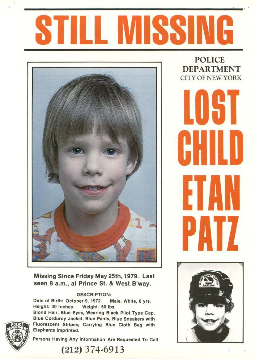 In this 1979 photo provided by the New York City Police Department shows a missing child poster for Etan Patz. New York City Police and the FBI began digging up a New York basement Thursday, April 19, 2012 for the remains of the 6-year-old boy whose 1979 disappearance on his way to school drew helped launch a missing children's movement that put kids' faces on milk cartons. (AP Photo/New York City Police Department)