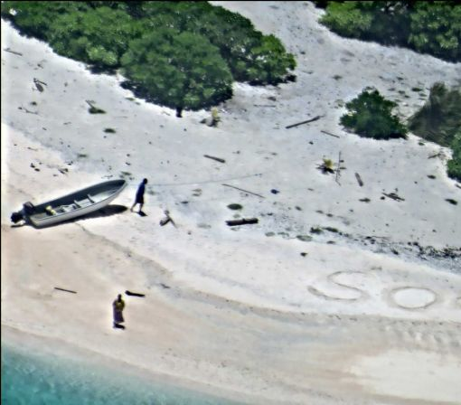 Couple rescued after searchers spot SOS on remote island