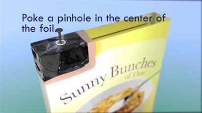 DIY steps to make a pinhole projector from a cereal box