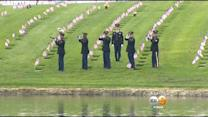 Flags Placed On Graves At Riverside National Cemetery
