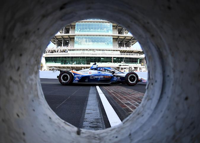Aug 23, 2020; Indianapolis, Indiana, USA; Indy Series driver Takuma Sato (30) during the 104th Running of the Indianapolis 500 at Indianapolis Motor Speedway. Mandatory Credit: Mike Dinovo-USA TODAY Sports     TPX IMAGES OF THE DAY