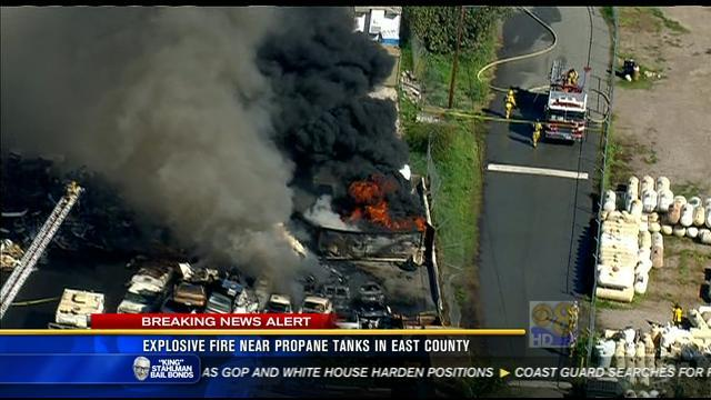 Explosive fire near propane tanks in East County
