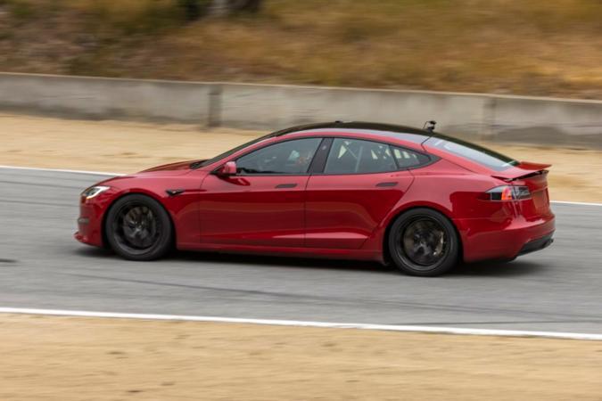 Tesla Model S Plaid prototype with retractable spoiler