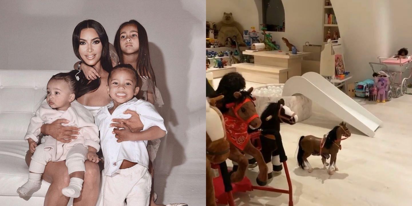 Kim Kardashian Shows Us Her Kids Playroom Which Includes A Concert Stage Craft Closet And Grocery Store