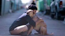 Jovem faz vídeo mostrando reação de cães de rua ao receberem um abraço