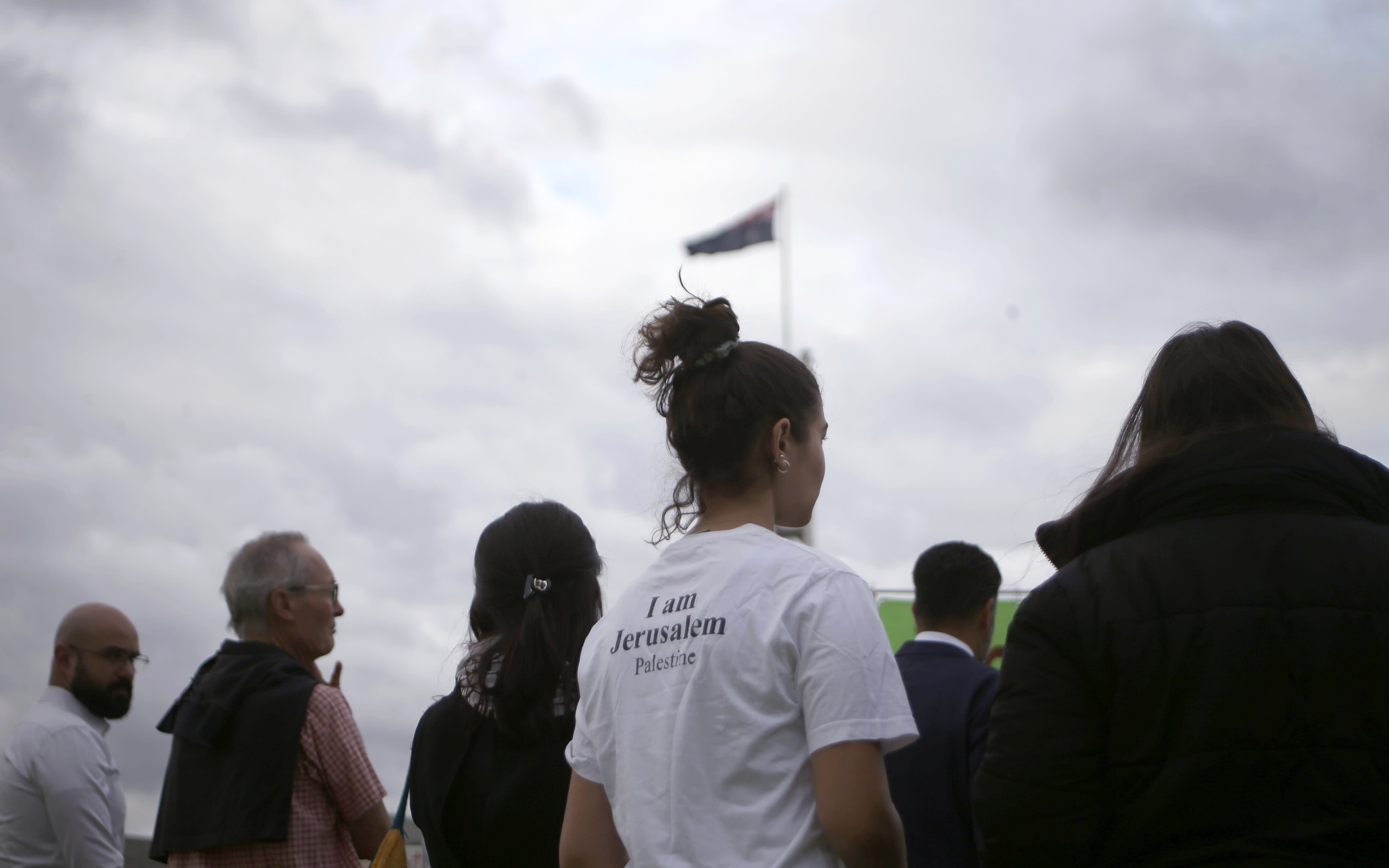 Around 50 pro-Palestinian demonstrators protest outside Parliament House in Canberra, Australia, on Wednesday, Feb. 26, 2020, ahead of Israeli President Reuven Rivlin's visit. The protest was organized by the Australia Palestine Advocacy Network which advocates for justice and peace for Palestinians. (AP Photo/Rod McGuirk)