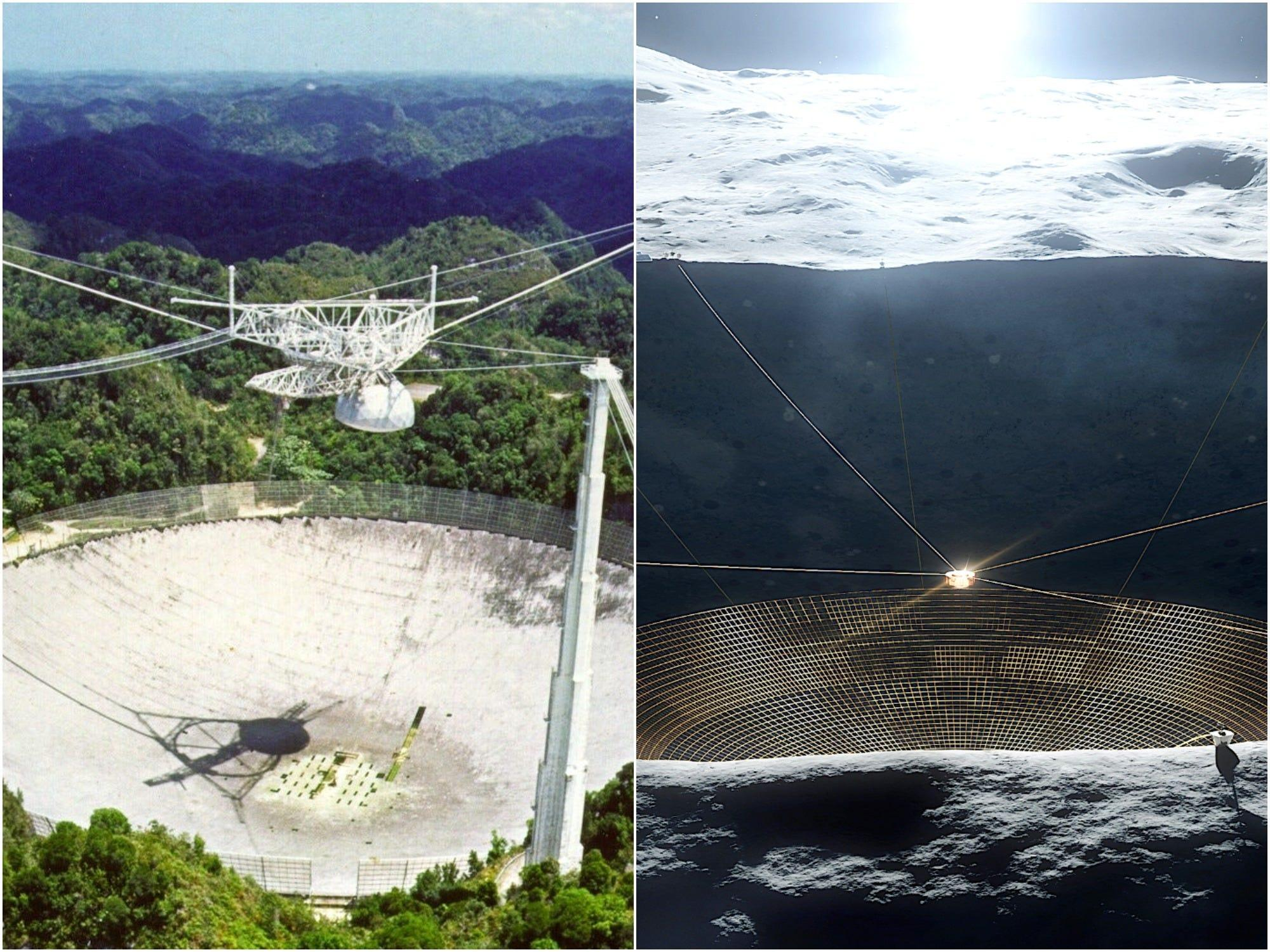 NASA is developing a plan to build an Arecibo-like telescope on the moon