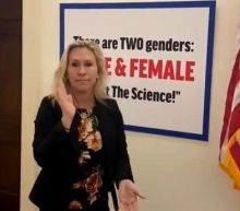 Marjorie Taylor Greene adds 'TWO genders' sign to office door in escalation of anti-Equality Act attack