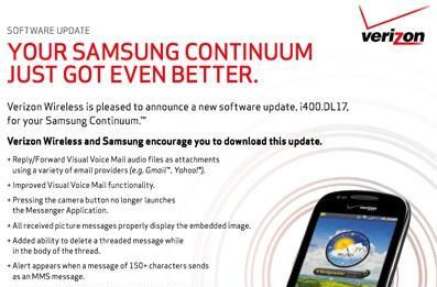 Samsung Continuum gets software update, V CAST Apps along for the ride