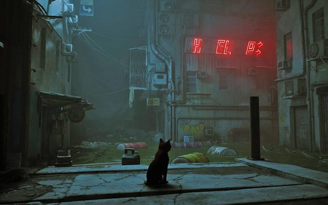 A still image from 'Stray' the cat simulator video game.
