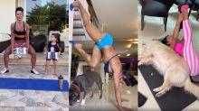Gracyanne inova e malha com a neta (e até com os cachorros!) na quarentena