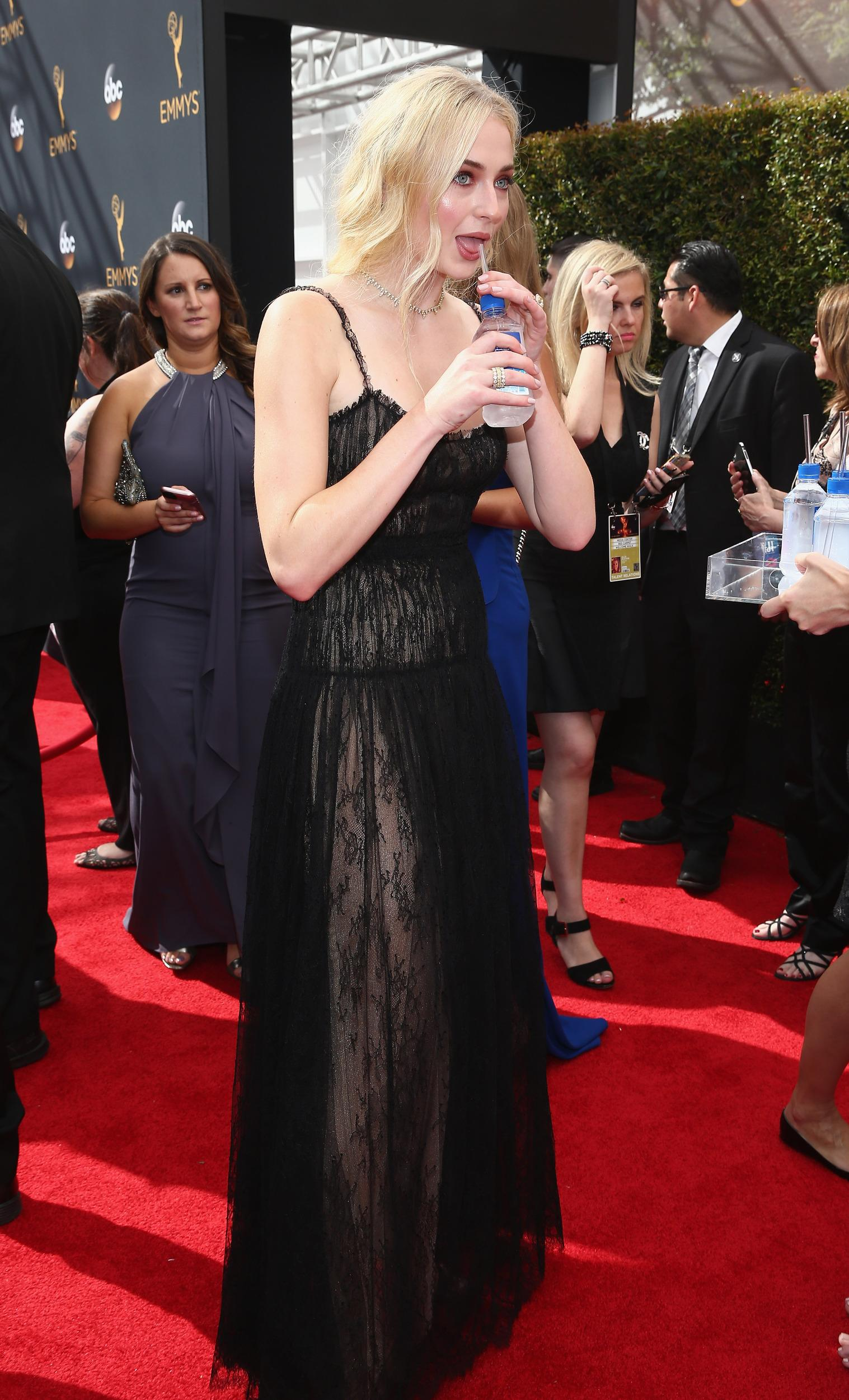Sophie Turner arrives at the 68th Primetime Emmy Awards on Sunday, Sept. 18, 2016, at the Microsoft Theater in Los Angeles. (Photo by John Salangsang/Invision/AP)