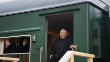 The Latest: Kim upbeat on eve of 1st summit with Putin