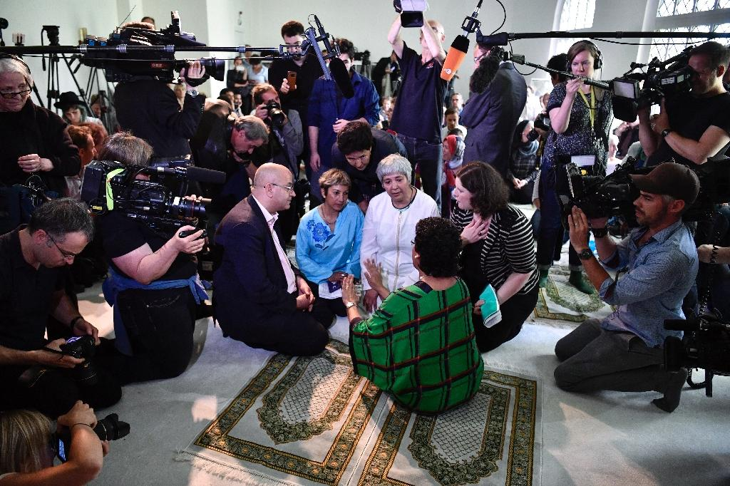 Lawyer and women's rights activist Seyran Ates opened the Ibn-Rushd-Goethe-Mosque with words of welcome before Christian and Jewish guests and a large media contingent (AFP Photo/John MACDOUGALL)