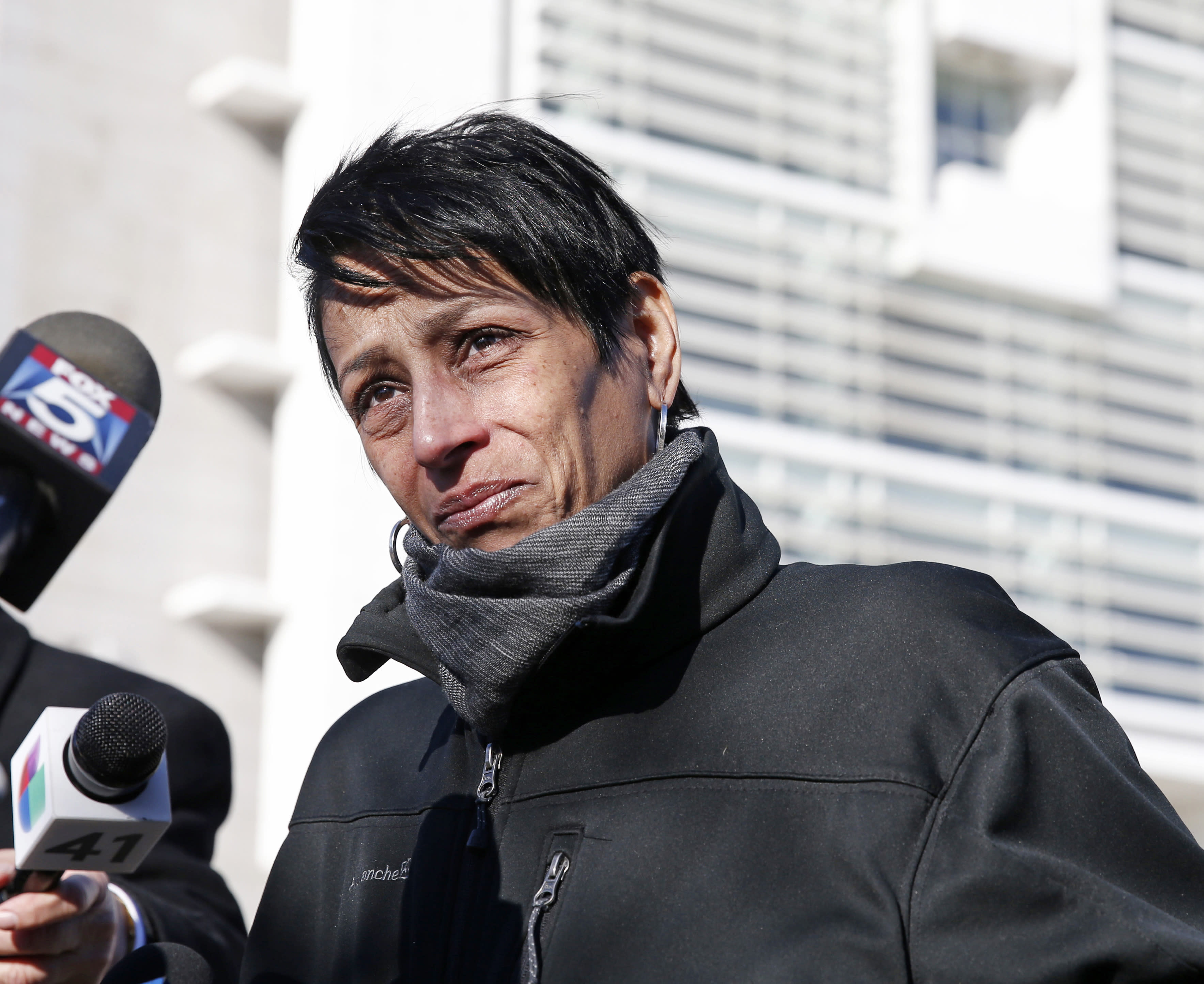 FILE- In this March 2, 2017 file photo, Evelyn Rodriguez, mother of Kayla Cuevas, 16, who was brutally slain in 2016 allegedly by members of the MS-13 street gang, stops to talk members of the press gathered outside U.S. District Court in Central Islip, N.Y. Rodriguez, who was recognized by President Donald Trump at the State of the Union after he daughter was murdered, was struck and killed by a car at her daughter's memorial on Friday, Sept. 14, 2018. (AP Photo/Kathy Willens, File)